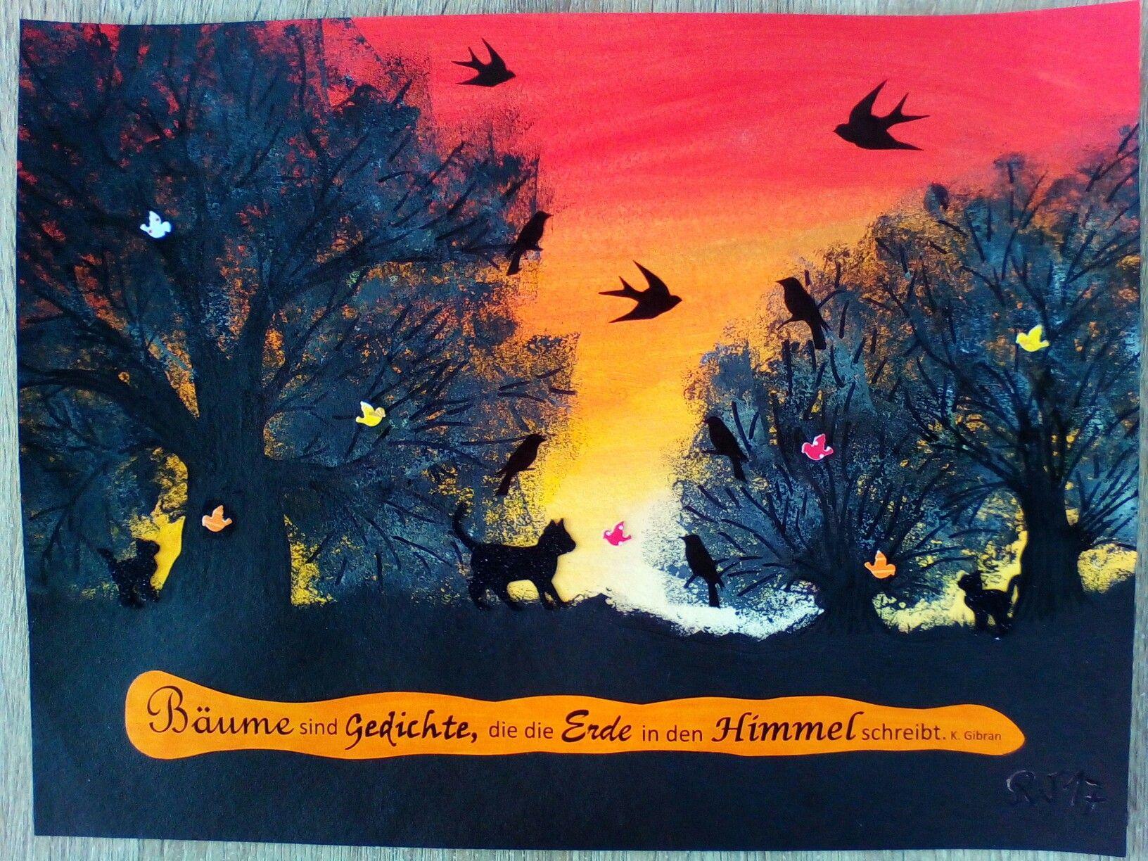 Hintergrund Baume Und Boden Acrylfarben Mit Schwarzem Permanent