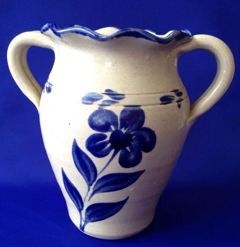 Salt Glazed Williamsburg Pottery Vase Crock Stoneware Blue Design