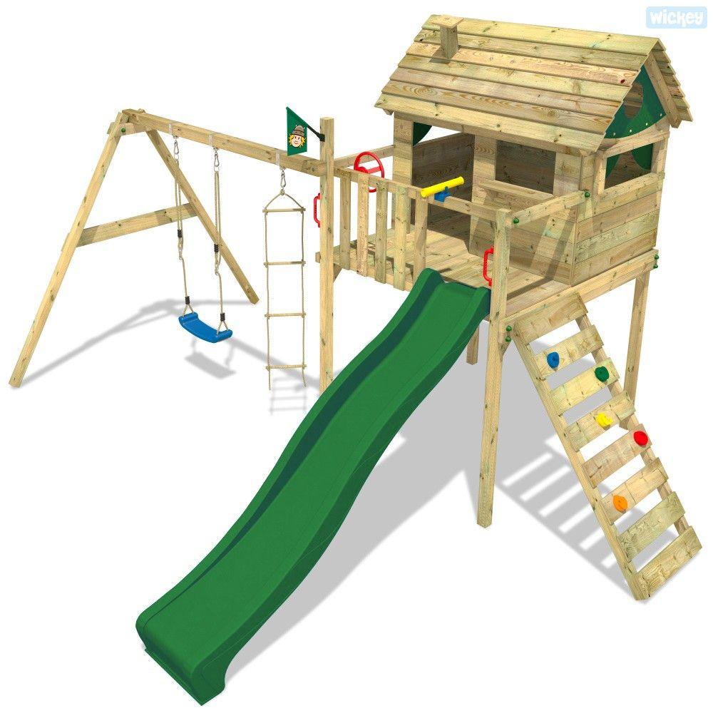 FATMOOSE Spielturm Baumhaus FunFactory Fit XXL Schaukel Stelzenhaus Rutsche Holz