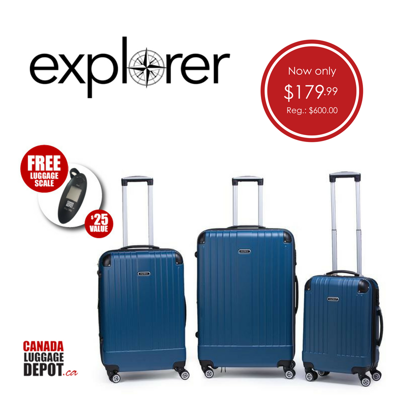 Explorer Compass Collection 3 Piece Expandable Spinner Luggage Set ...