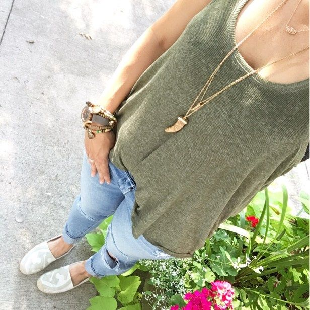Instagram Round Up | Tank and Ripped Jeans | how to style ripped jeans | green tank outfit | spring style | spring fashion | styling for spring and summer | warm weather fashion | style ideas for spring | fashion tips for spring || The Flexman Flat