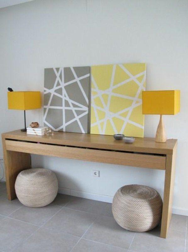 diy symmetrie moderne leinwandbilder gelb grau kommode | basteln ... - Leinwandbilder Selber Gestalten