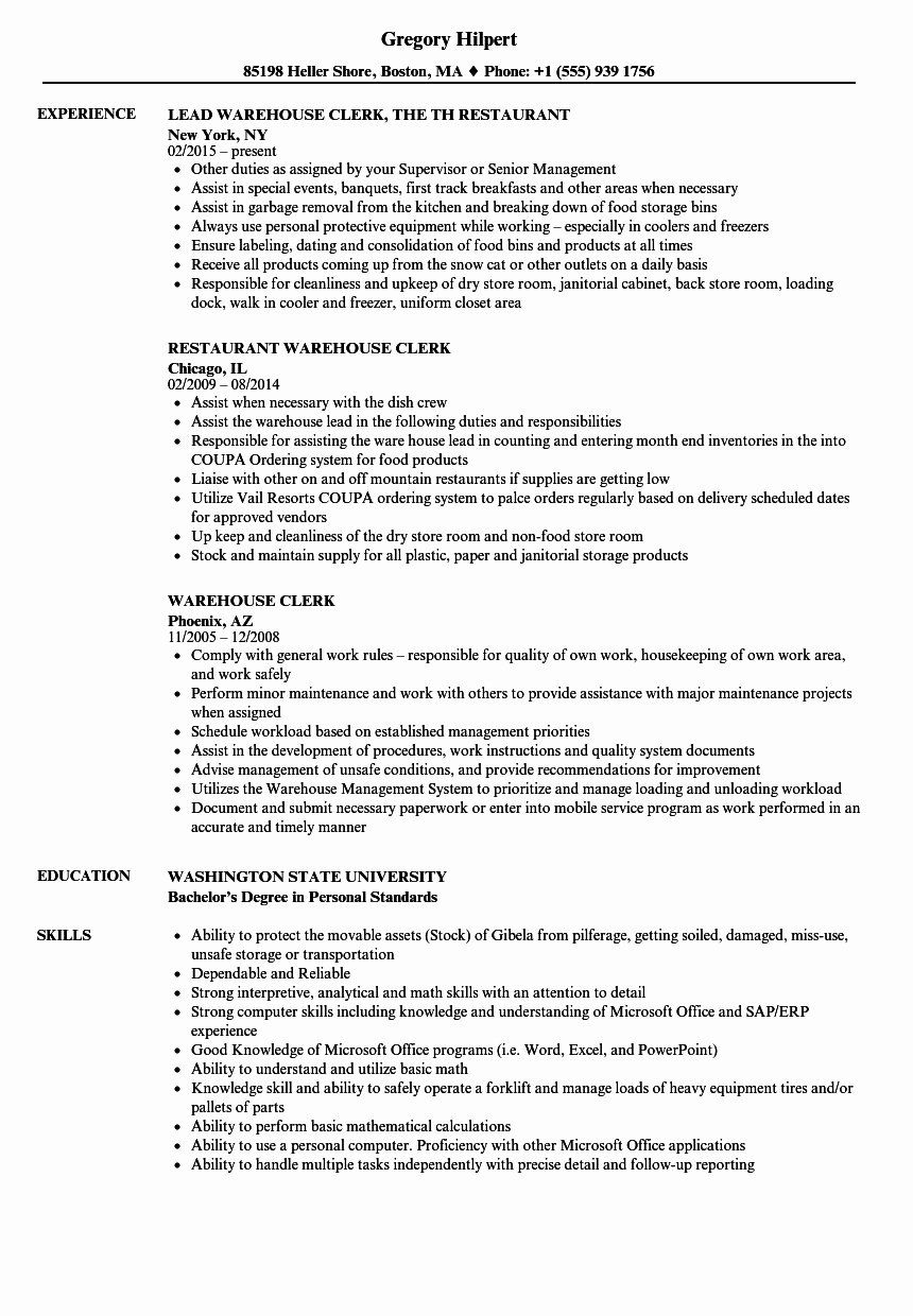 Warehouse Job Description Resume Lovely Warehouse Clerk