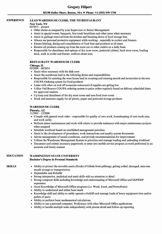 Warehouse Job Description Resume Lovely Warehouse Clerk Resume Examples Teaching Assistant Job Description Nurse Job Description Teaching Assistant Job