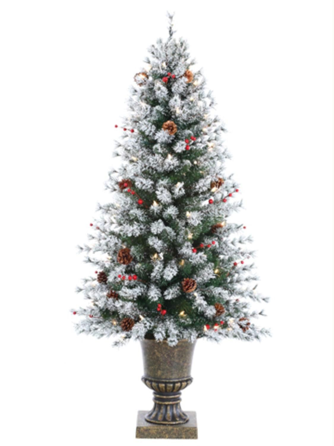 4.5' PreLit Flocked Artificial Pine Christmas Tree with
