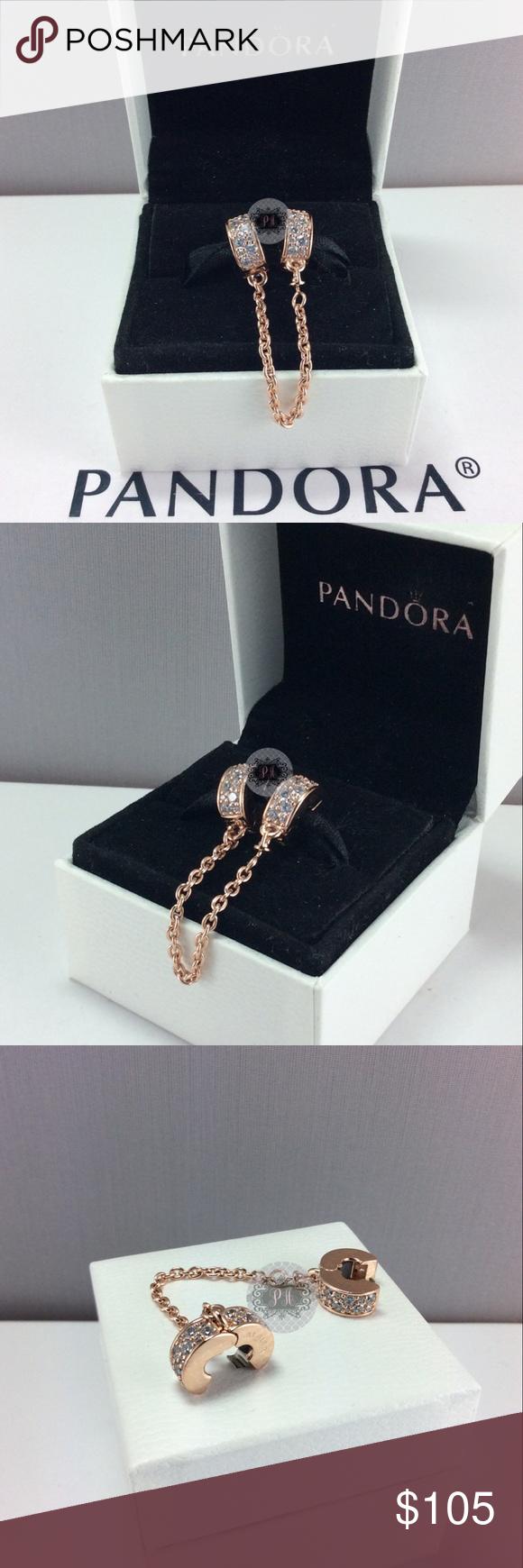 e36498dc18d36 New Pandora Rose Shining Elegance Safety Chain Authentic Pandora ...