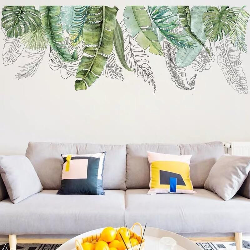 tropical leaves wall decals wall decals living room on wall stickers for living room id=92101