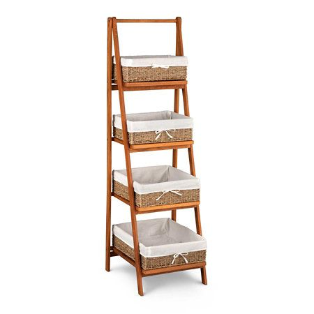 Teak Bathroom Ladder Shelf With Baskets Basket Shelves Teak Bathroom Shelves