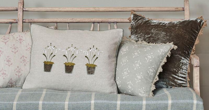 Embroidered Three Snowdrops Charcoal Linen Cushion Linen