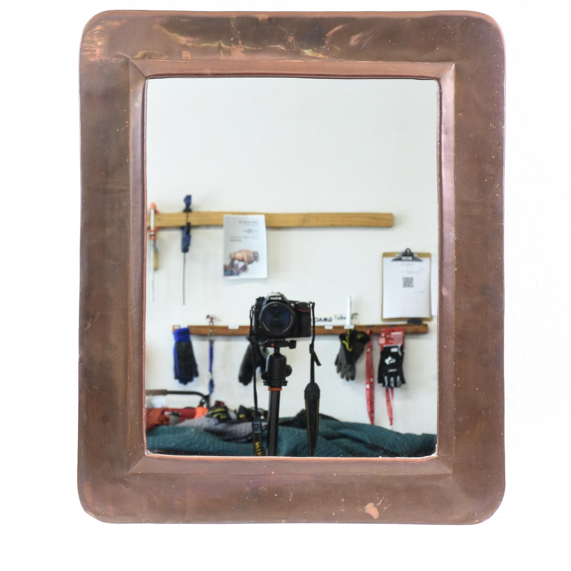 This mirror is featured in a shiny, polished brass with an antiqued finish. This bohemian style accent mirror has a rounded rectangular frame with beveled edges. Perfect for a vanity wall! #bohemian #decor #mirror #sandiegovintage #vintagefurniture