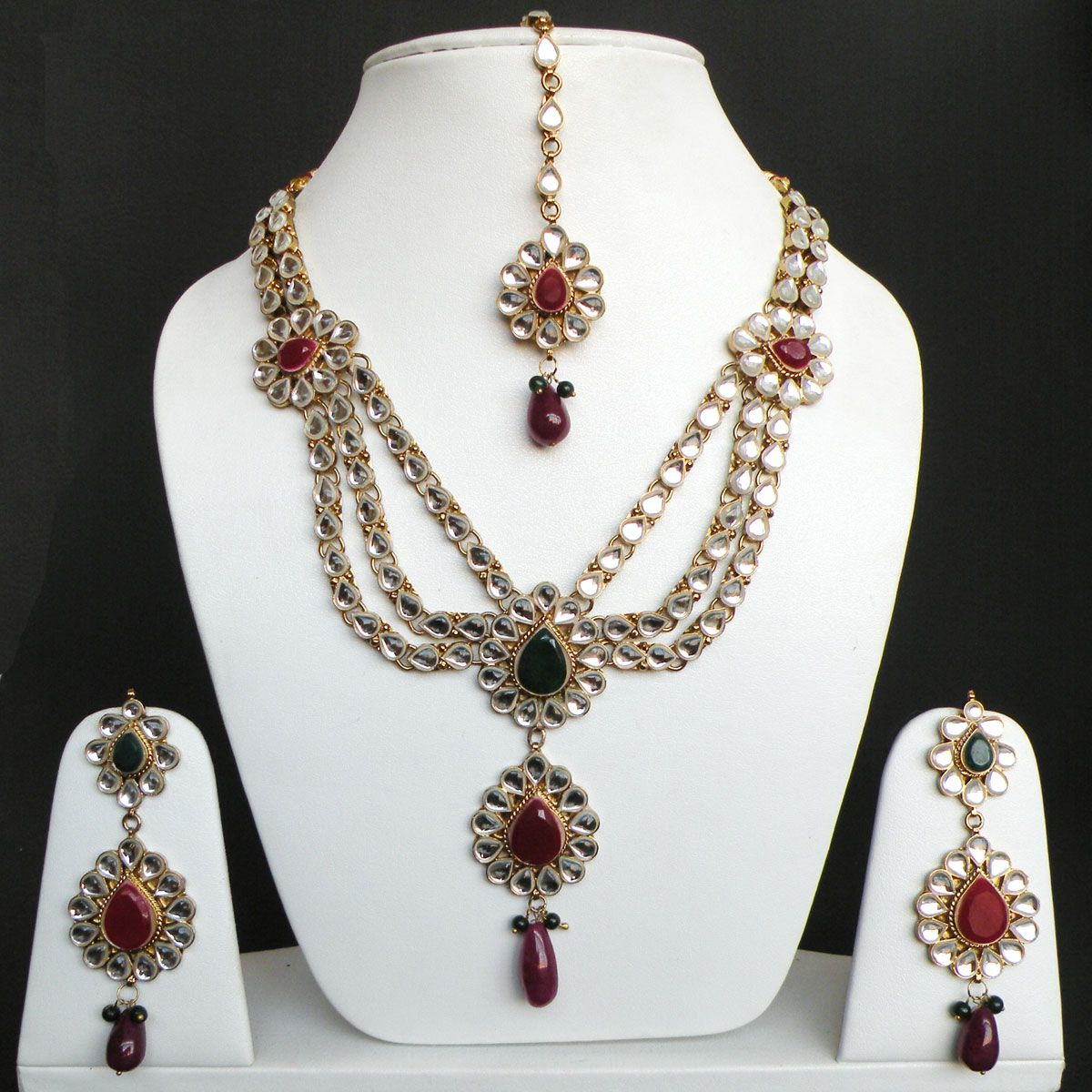 4pc very beautiful indian gold plated kundan long necklace earring ...