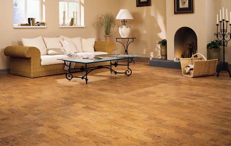 klassischer korkboden bodenbelag wohnzimmer wärmeisolierend #cork - wohnzimmer orange beige