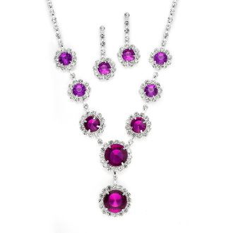 Rhinestone Necklace Sets with Framed Purple Rounds