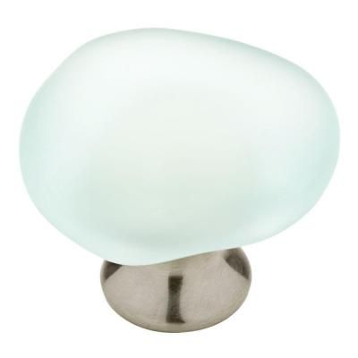 Liberty 1-1/2 in. Satin Nickel and Sea Glass Cabinet Knob | Glass ...