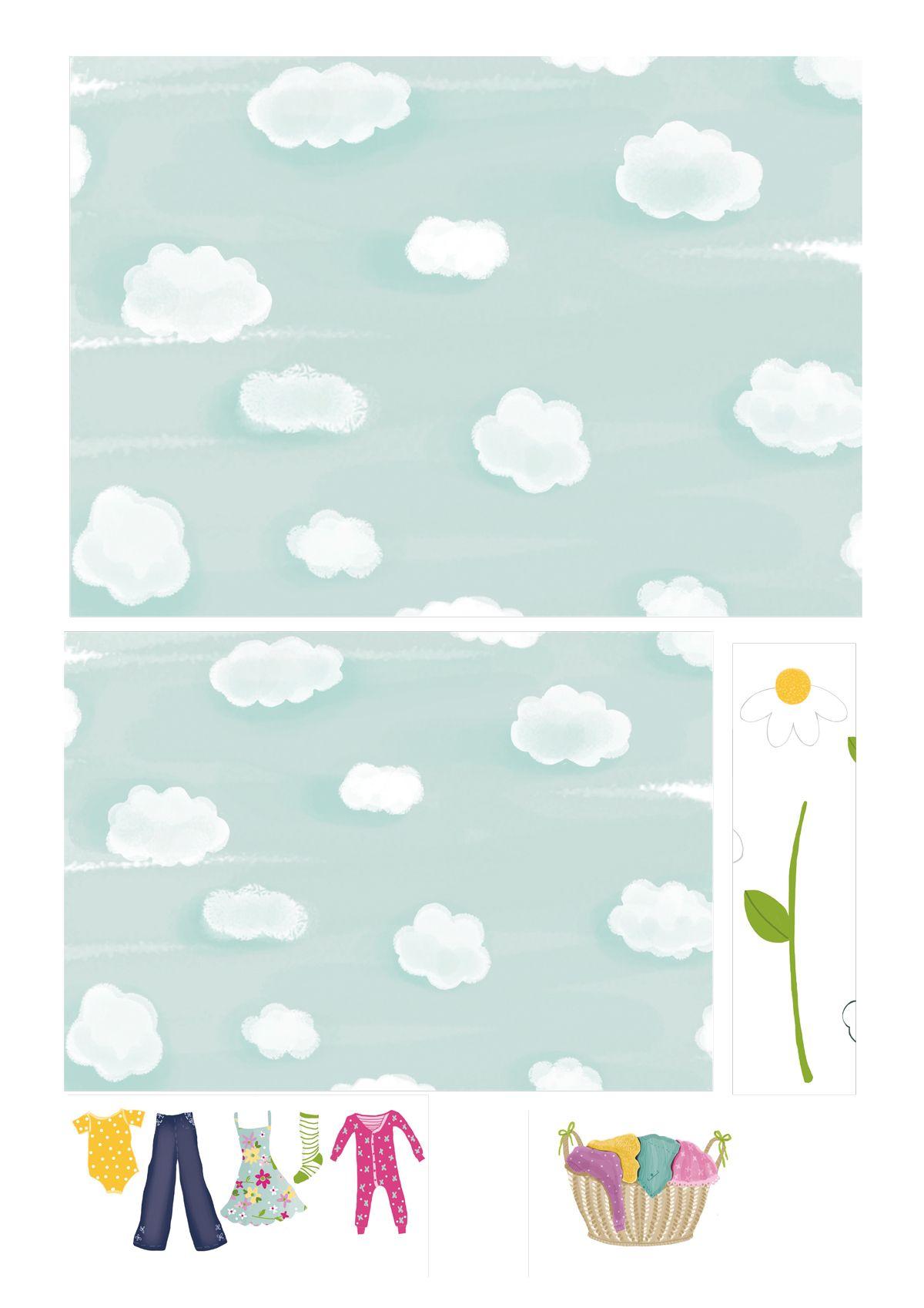 Free printable cloud patterned paper | Иллюстрации | Pinterest ...