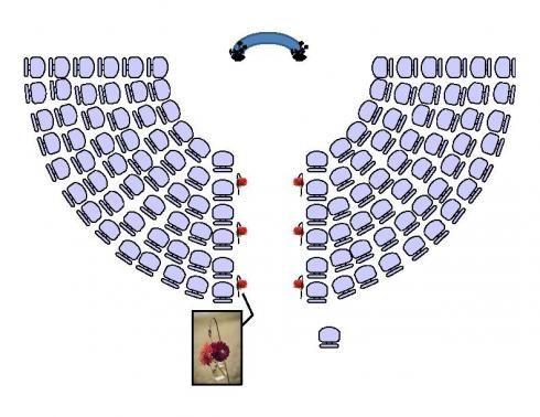 half circle ceremony seating row1 6 row2 7 row3 9 row4 10. Black Bedroom Furniture Sets. Home Design Ideas