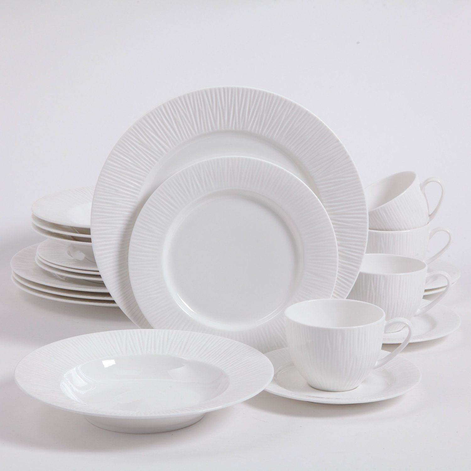 Amazon.com Gibson Elite Sandridge 20 Piece Dinnerware Set Bone China Kitchen & Amazon.com: Gibson Elite Sandridge 20 Piece Dinnerware Set Bone ...