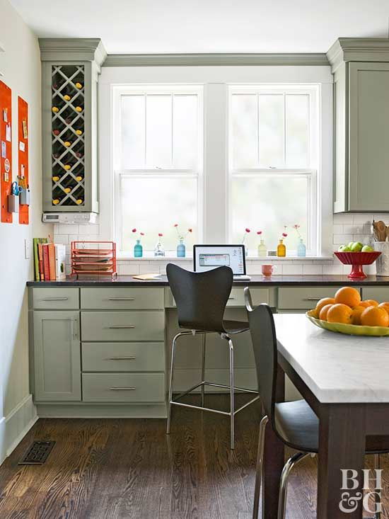 In This Cozy Kitchen Office, Built In Cabinets Provide Plenty Of Storage  And Conceal Outlets For Charging Phones And Other Electronics. The Large  Desk Area ...