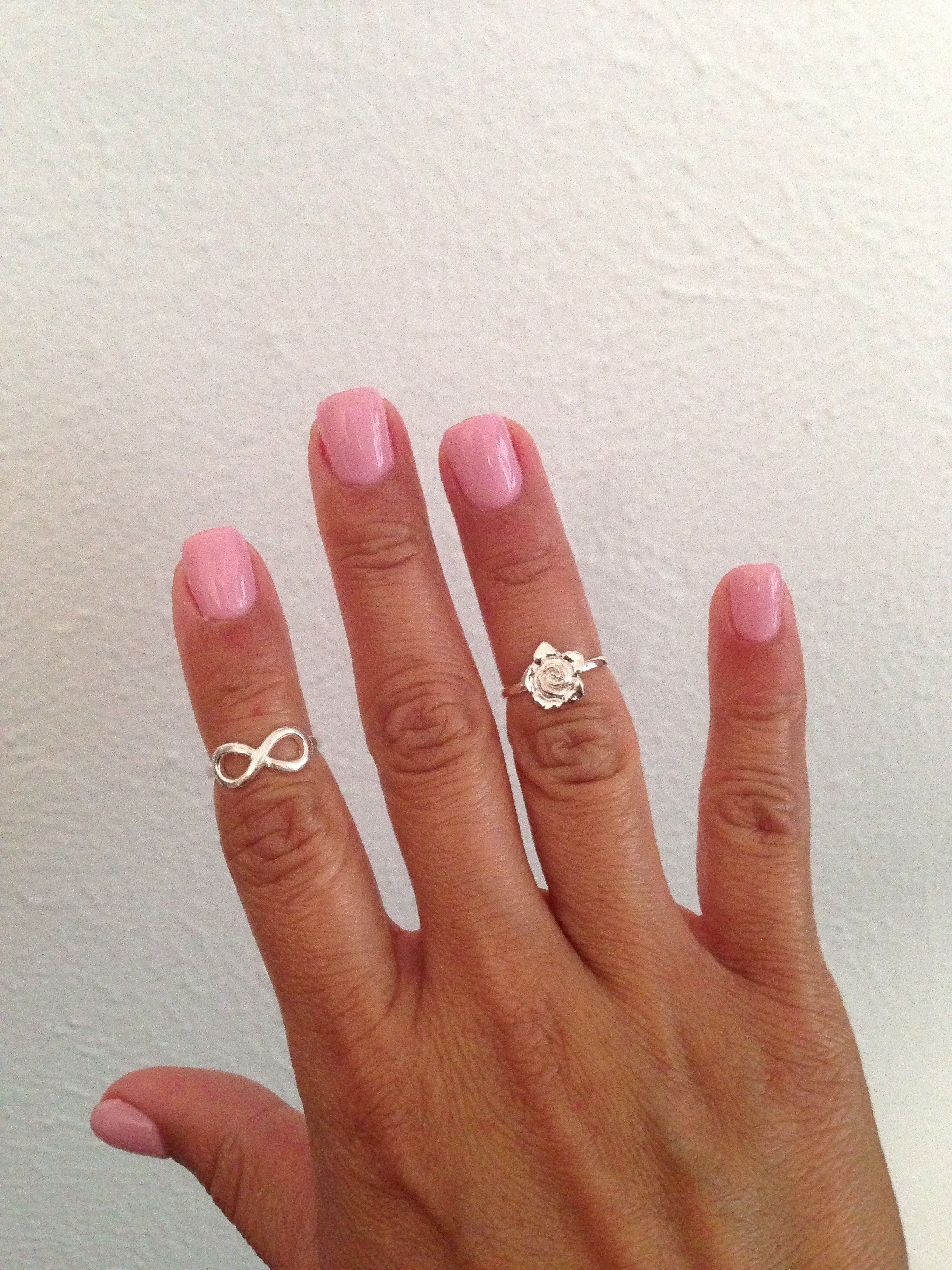 Acrylic Overlay Over My Natural Nails No Tips Topped With Light Pink Shellac Midi Rings Were Purchased At Kohl S