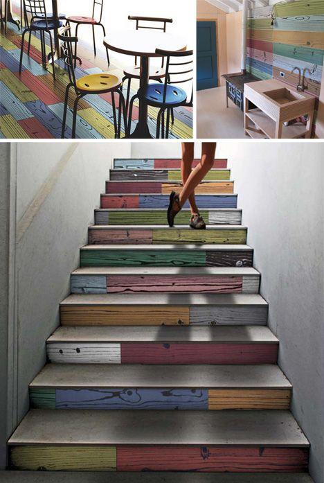 Best Warhol Colored Wood Grain Floor Tiles Modern Staircase 400 x 300