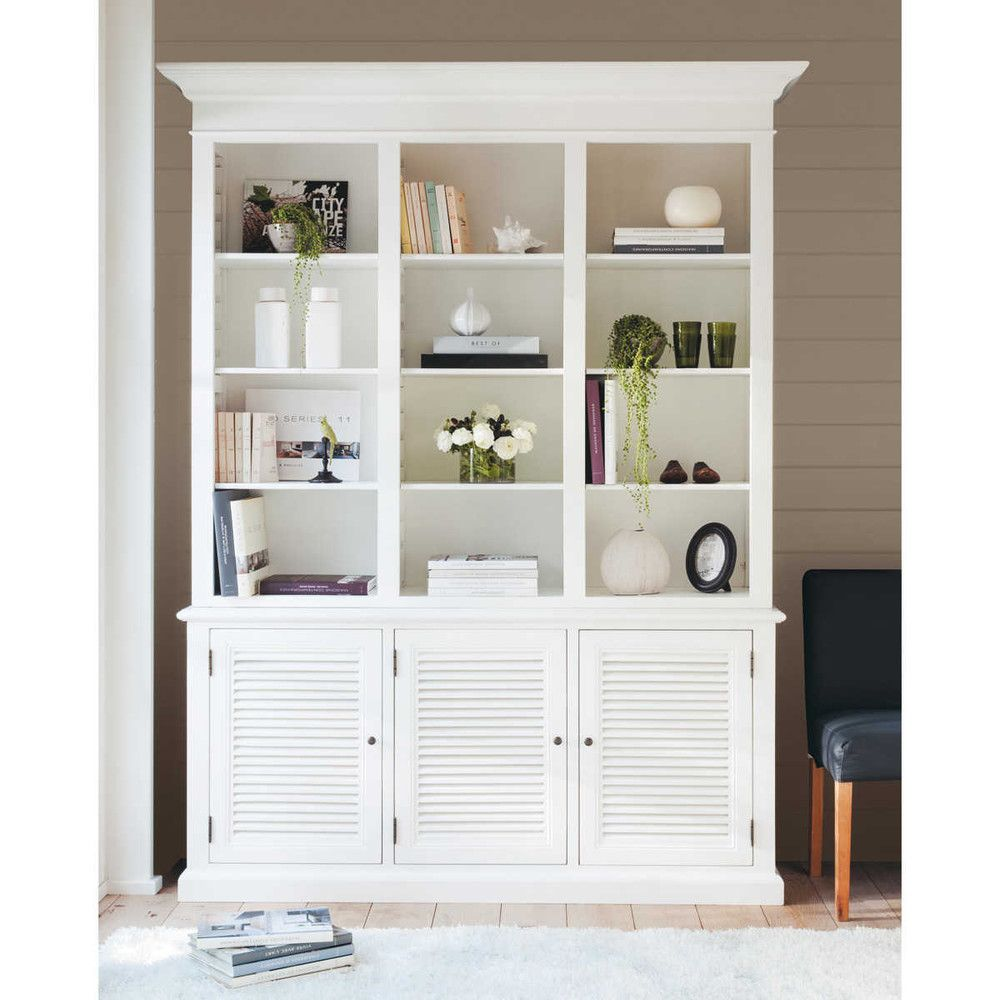 biblioth que en bois blanche biarritz biblioth que en bois bois blanc et biblioth que maison. Black Bedroom Furniture Sets. Home Design Ideas