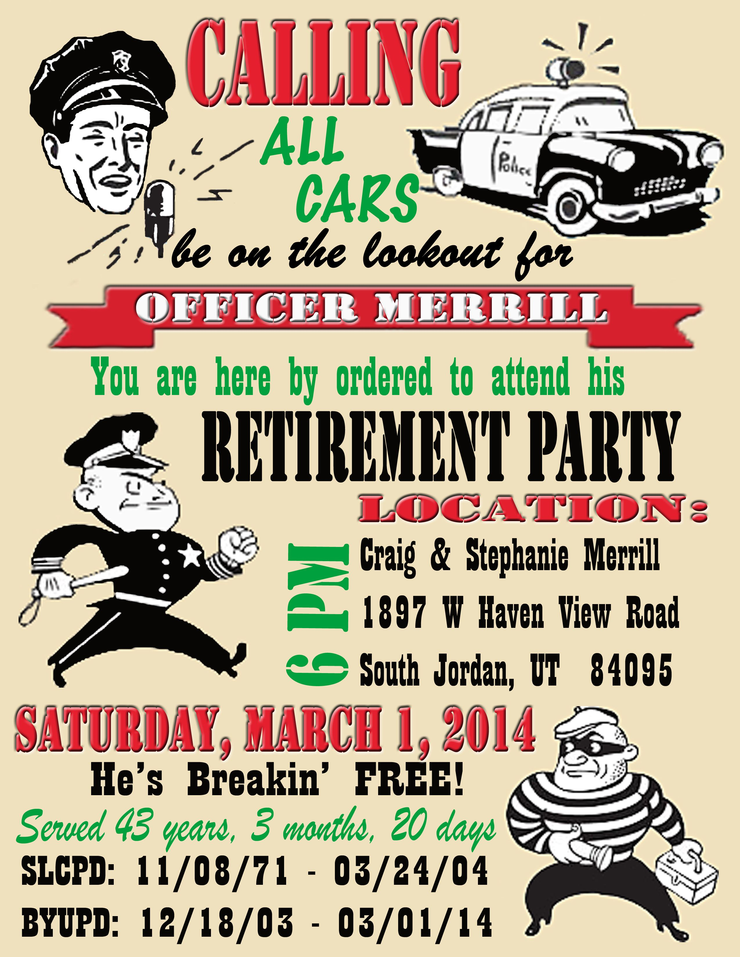 Free Printable Police ficer Retirement Invitation Send an email