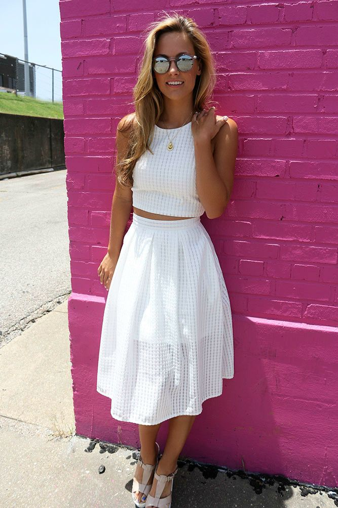 The Olivia White Crop Top A-Line Skirt Two Piece Set | Amazing ...