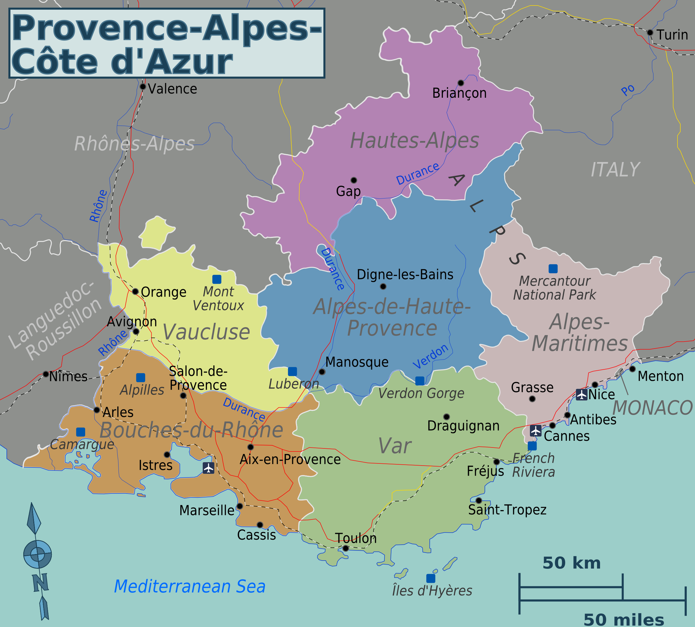 Map Of South Of France And Monaco.Provence Cote D Azur Map In 2019 Provence France Map