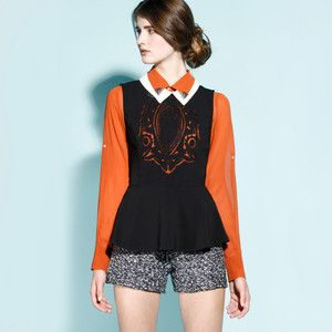 Cut Out Peplum Top Black White, $65, now featured on Fab. PS - this is an outfit I would want to solve a mystery in.