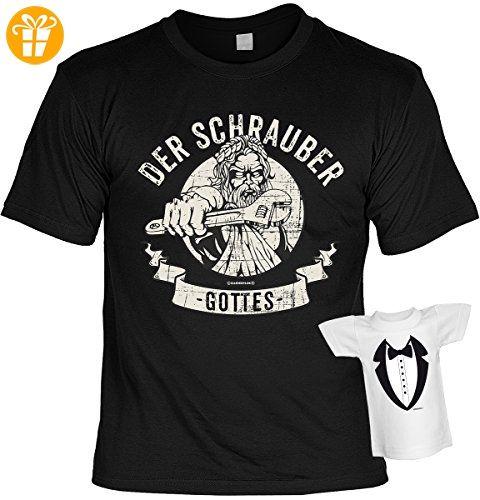Lustige Sprüche Fun Tshirts - Der Schrauber GOTTES - incl. Mini-Shirt ohne Flasche (*Partner-Link)
