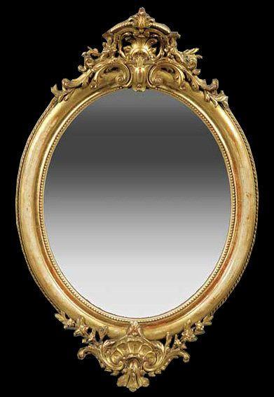 Espejo de pared Oval bonito con marco de metal tallado de oro ...