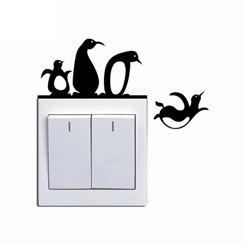 Best Penguins Switch Sticker Cartoon Pegatina Wall Stickers For 400 x 300