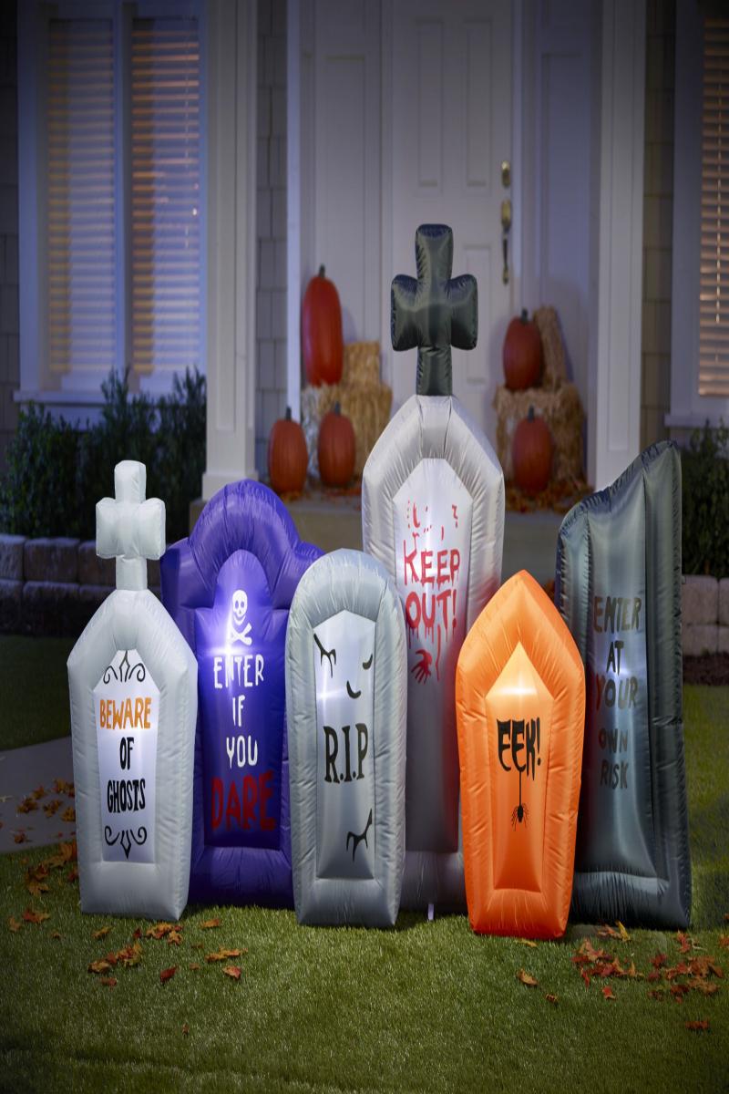Alcove 7.5/' Inflatable 6 Piece Tombstone Set Halloween LED Lights #NNUUJ
