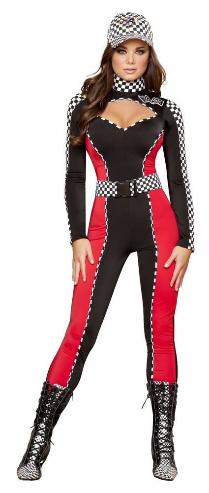 Costumes & Accessories Womens Sexy Race Car Jumpsuit Costume Racer Girl Uniform Black Bodysuit With Gloves Tube Tops