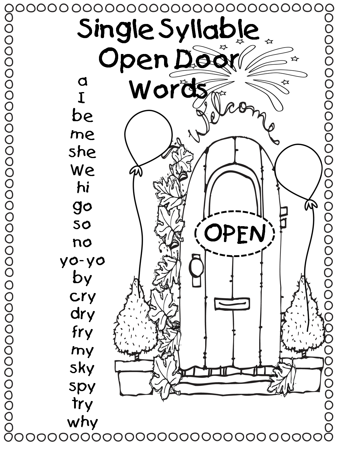 Single Syllable Open Door Words Open Vowel Words