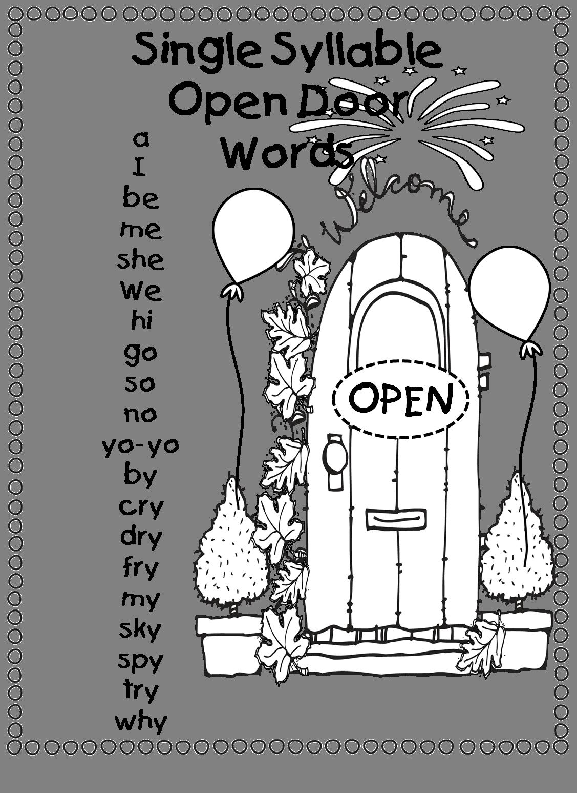 single syllable  u0026quot open door words    open vowel words u0026quot