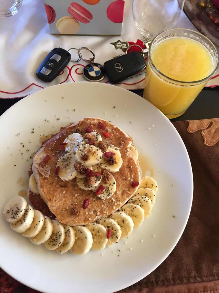 Breakfast: Pancakes, OJ, Banana, Hempseed, Chia seeds, mulberries, Goji Berries and Maple syrup.  #healthylifestyle #healthy #healthychoices #healthylifestyle #wholefoods #mywholefoodlife #mindbodygreen #foodporn #fitwife #foodie #organic #over40 #cleaneating #colorfulfoodie #colorfulfood #fitfoodaddiction #fitduefood #Vegan #caribbeangirl #islandgirls #instamood #instagood #eatclean #eathealthy #eatseverything