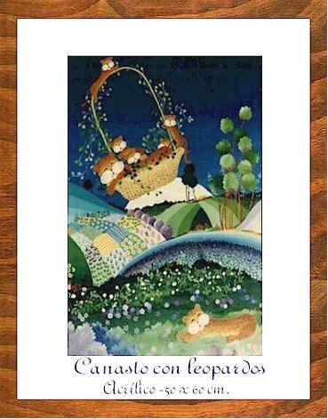 """Arte naif Pilar Sala GALERIA """"Canasto con leopardos""""acrilico 50 x 60 cm. ;"""