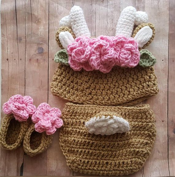 Photo of Baby Girl Deer Woodland Going Home Outfit, Newborn Baby Girl Clothes, Crochet Photo Shoot Deer Costume, Birthday Cake Smash, Shower Gift