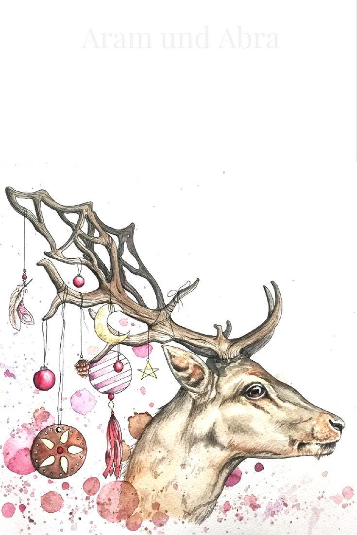 Weihnachtskarte Mit Hirsch Mal Anders Mit Handgemalte