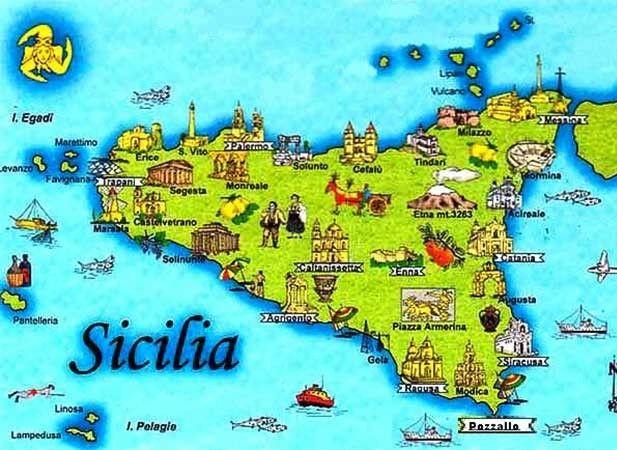 Mapa De Sicilia Italia.Roteiros Na Italia Mapa Da Sicilia Em 2019 Italia