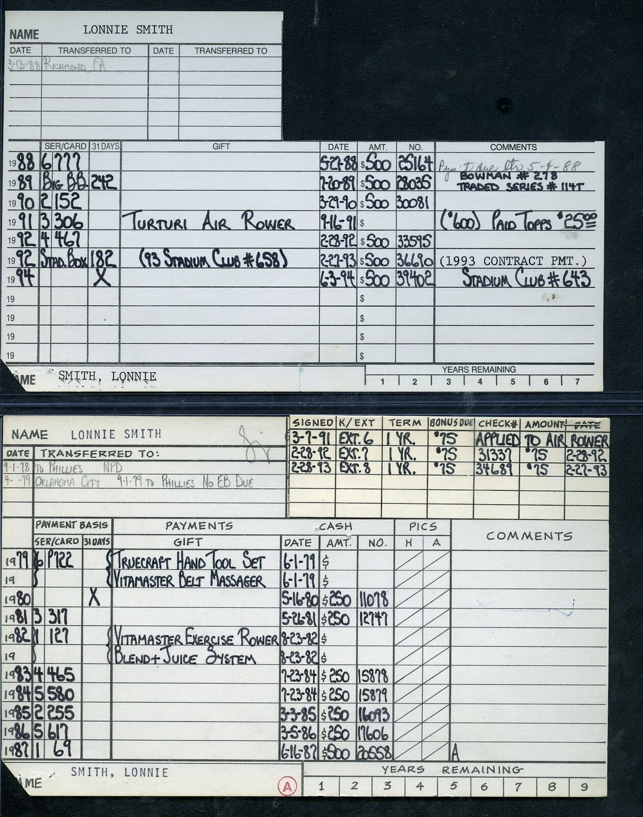 1979 topps baseball original player file cards lonnie