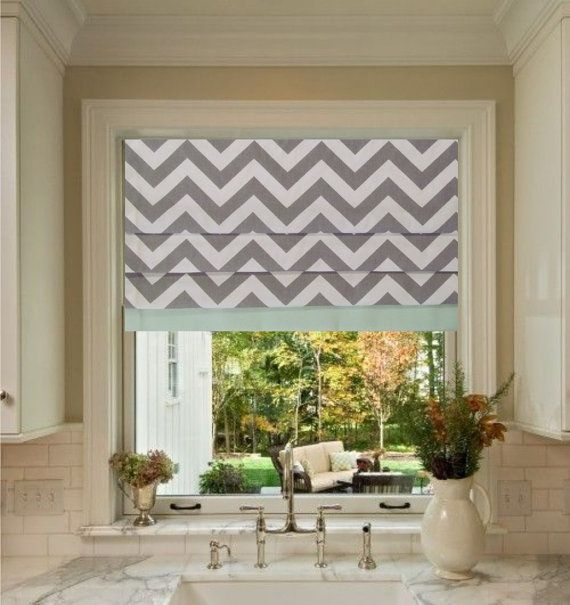 Custom Made Faux Roman Shade Storm Grey Chevron With Mint