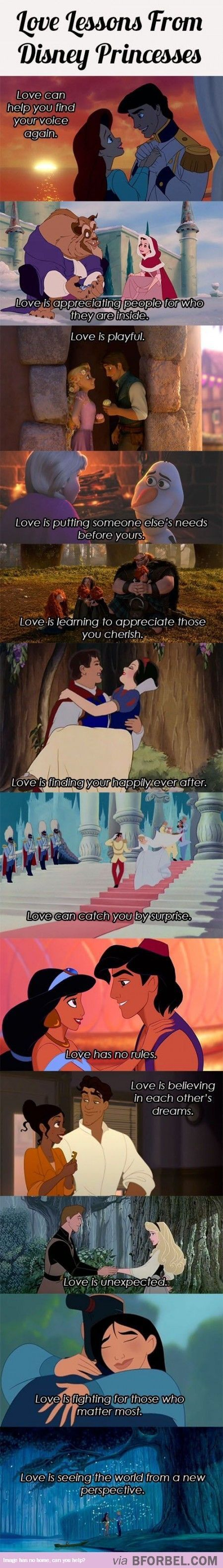 Snow White: *you can appeal to the goodness in anyone and *Insecurities don't justify a mean attitude. Sleeping Beauty: *love takes time