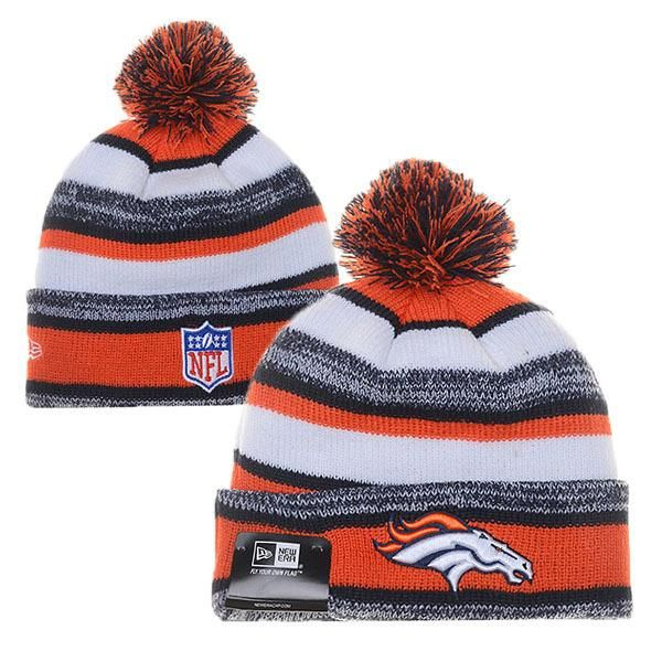 0b770627689 Mens   Womens Denver Broncos New Era NFL On-Field Sport Sideline Cuffed Knit  Pom Pom Beanie Hat - Orange   Grey   White