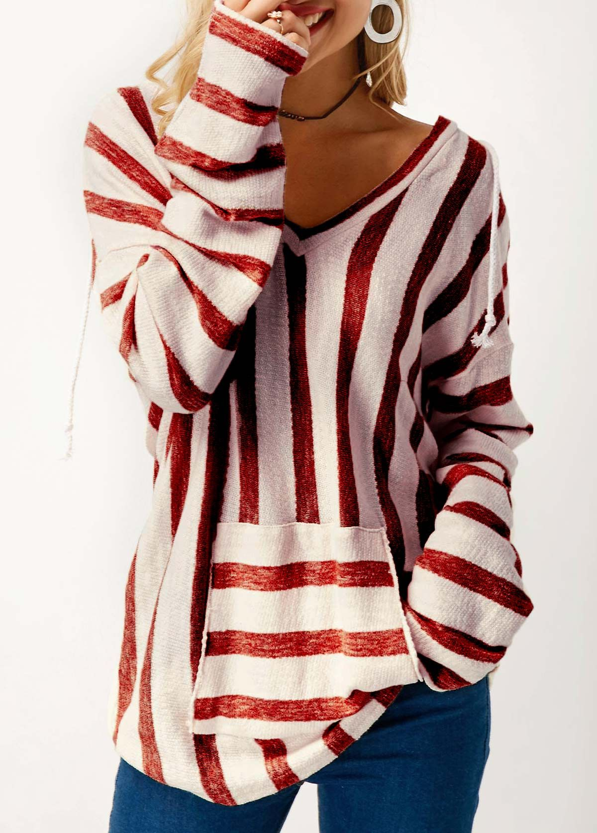 Wine Red Hooded Collar Pocket Striped Sweater | Clothes, Clothing ...