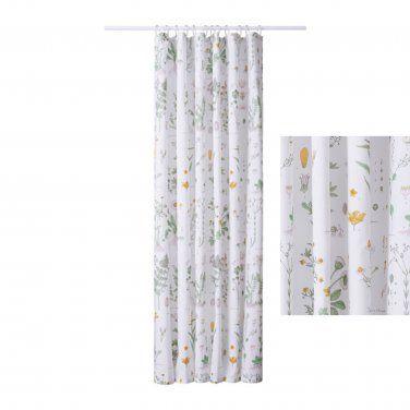 IKEA STRANDKRYPA Fabric SHOWER Curtain BOTANICAL Garden Print Floral ...