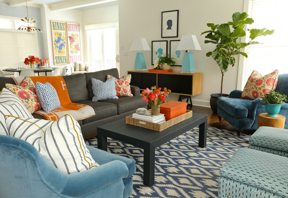 Burnt Orange And Blue Decor Living Room Contemporary With Pink Flowers Dark  Blue Armchair