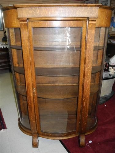 Antique Empire Oak Tiger Oak Curio Display Curved Glass China Cabinet Ca Antique Oak Furniture Antique Decor Vintage Furniture