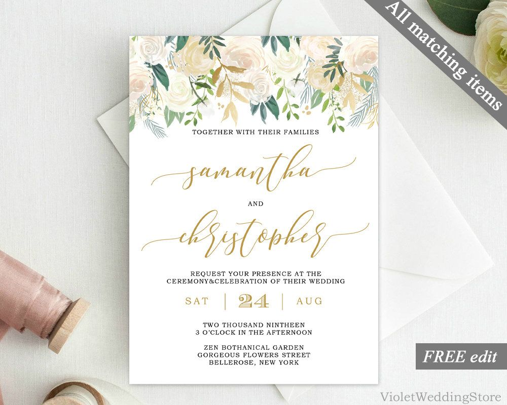Ivory and Gold Wedding Invitation Template. Printable Greenery